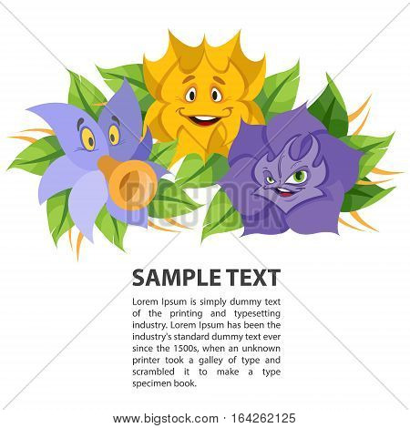 Fabled flowers smiling and talking. Template with space for text design.