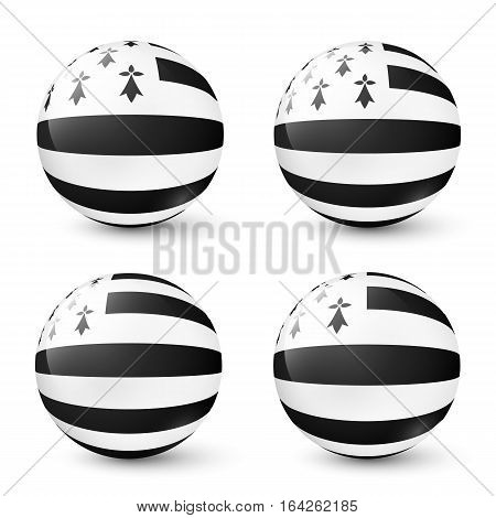 Vector glass balls buttons set with Breton flag inside