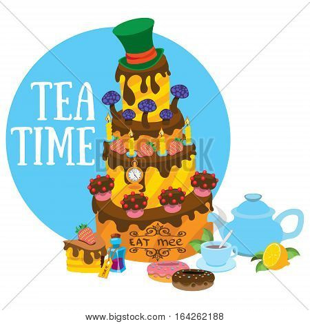 Big cake and pastries. Tea party. Refreshments. Illustration to the fairy tale Alice's Adventures in Wonderland.