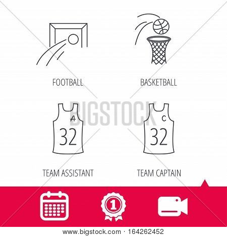 Achievement and video cam signs. Football, basketball and team captain icons. Team assistant linear sign. Calendar icon. Vector