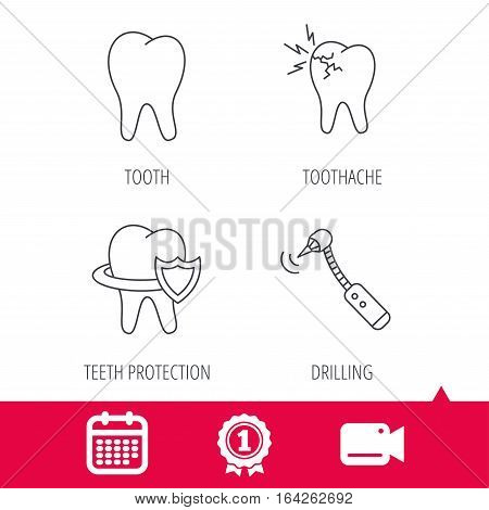 Achievement and video cam signs. Tooth, toothache and drilling tool icons. Teeth protection linear sign. Calendar icon. Vector