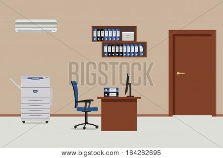 Workplace of office workers. There is a table, a blue chair, a copy machine, a conditioner, shelves for documents and other objects in the picture. Vector flat illustration.