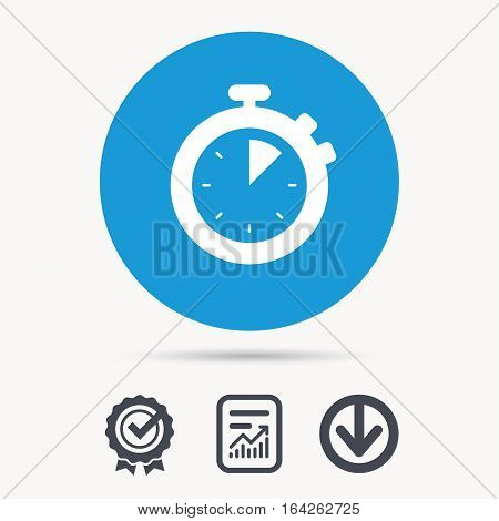 Stopwatch icon. Timer or clock device symbol. Achievement check, download and report file signs. Circle button with web icon. Vector