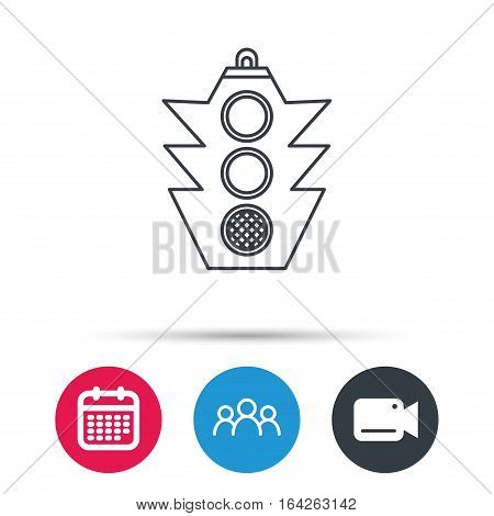 Traffic light icon. Safety direction regulate sign. Group of people, video cam and calendar icons. Vector