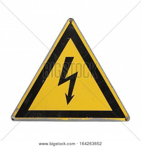 Sign high voltage. Warning danger. Yellow triangle. Isolated