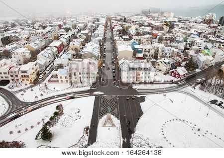 Bird-eye view of center of Reykjavik Iceland