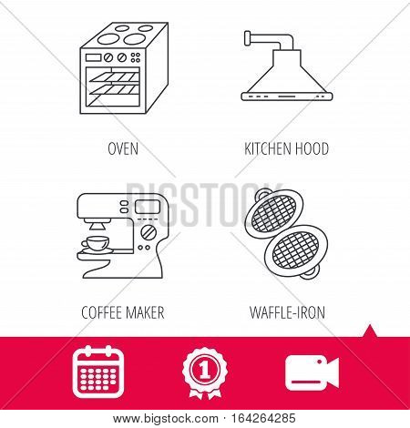 Achievement and video cam signs. Waffle-iron, coffee maker and oven icons. Kitchen hood linear sign. Calendar icon. Vector