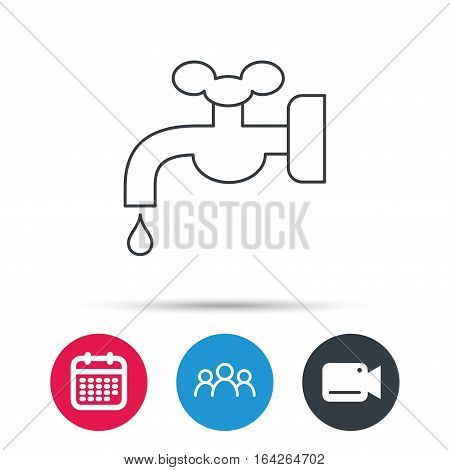 Water supply icon. Crane or Faucet with drop sign. Group of people, video cam and calendar icons. Vector