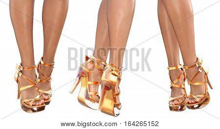 Set beautiful female legs in golden sandals high heels. Sexy slim female legs. Seductive pose. Conceptual fashion art. 3D render illustration. Isolate.