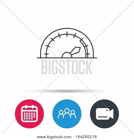 Speedometer icon. Speed tachometer with arrow sign. Group of people, video cam and calendar icons. Vector