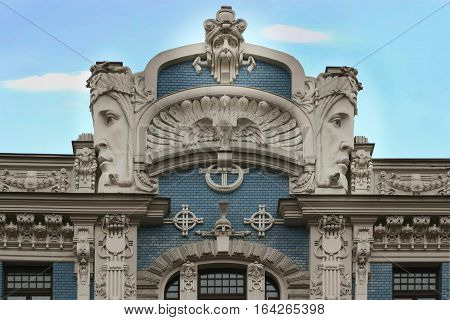 Art Nouveau Jugenstil building in The historic center of Riga Latvia