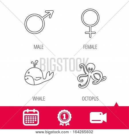 Achievement and video cam signs. Male, female and octopus icons. Whale linear sign. Calendar icon. Vector