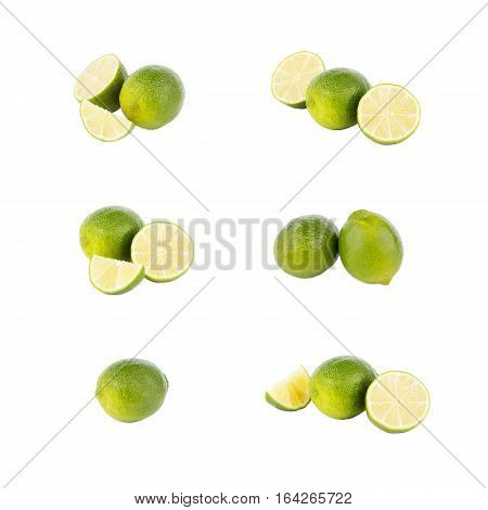 Set of different variations of green Key lime isolated on white