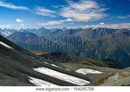 View from the highland pass Karaturek to the Altai Mountains with snowcaps and mountain Beluha