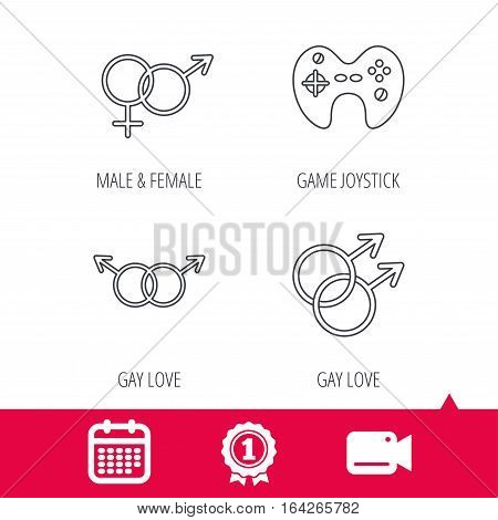Achievement and video cam signs. Gay, lesbian love and game joystick icons. Male, female linear sign. Calendar icon. Vector