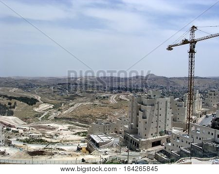 Construction of houses in Har Homa (Homat Shmuel) near Jerusalem Israel May 16 2005