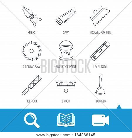 Trowel for tile, saw and brush tool icons. Level and file tool, bucket of paint linear signs. Plunger, pliers icons. Video cam, book and magnifier search icons. Vector