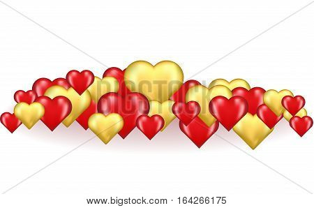 lot of gold and red three-dimensional hearts isolated on white background