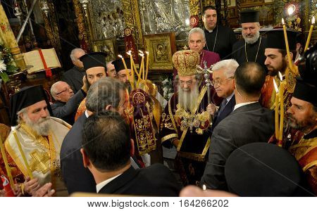 Bethlehem, Palestine. January 7Th 2017: Greek Orthodox Patriarch Theophilos Iii At Christmas Midnigh