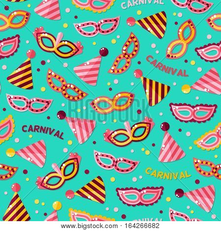 Seamless pattern with carnival masks, texts and clown caps. Vector illustration. Blue masquerade wallpaper with confetti