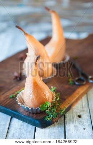 Poached Pears With Spices In Syrup
