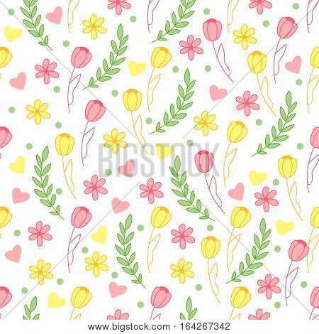 Cute seamless pattern with leaves, flowers, tulip and hearts. Nice background.