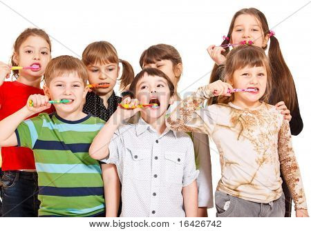 Kids crowd cleaning teeth, over white