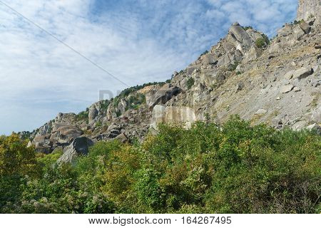 The steep slope of the mountain South Demerdzhi in the Crimea.