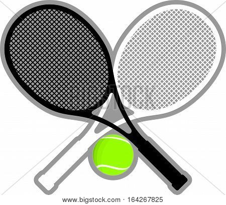 crossed tennis rackets black and white with a ball