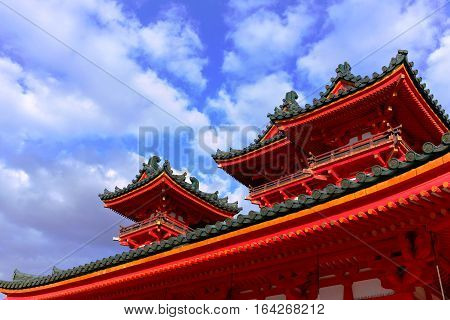 Temples with their colorful and ornate designs, like this one located in Kyoto, Japan, are culturally symbolic and ubiquitous around Japan.