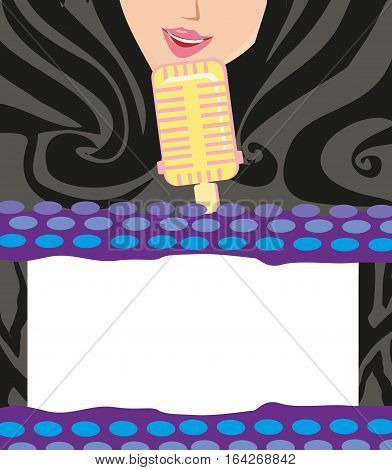 Karaoke night abstract illustration with microphone and singer , vector illustration