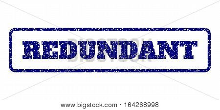 Navy Blue rubber seal stamp with Redundant text. Vector tag inside rounded rectangular shape. Grunge design and scratched texture for watermark labels. Horisontal sign on a white background.