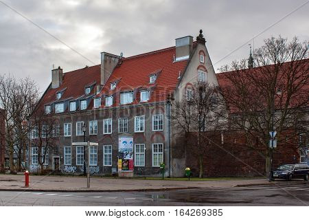 POLAND GDANSK - DECEMBER 18 2011: Historical buildings in the historical part of city. Gdansk is a Polish city on the Baltic coast and popular center of tourism.