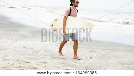 Watersport Activities. People And Hobby. Caucasian College Student Spending Vacations In Tropical Co
