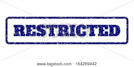 Navy Blue rubber seal stamp with Restricted text. Vector message inside rounded rectangular frame. Grunge design and scratched texture for watermark labels. Horisontal sticker on a white background.