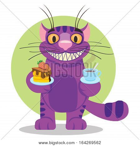 Cheshire Cat. Illustration to the fairy tale Alice's Adventures in Wonderland. Purple cat with a big smile offers a cup of tea and cake.