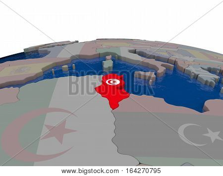 Tunisia With Flag
