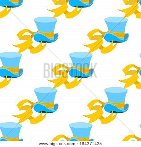 Blue wizard hat with yellow tape seamless pattern. Hat shop. Cylinder Hatter from a fairy tale Alice's Adventures in Wonderland.