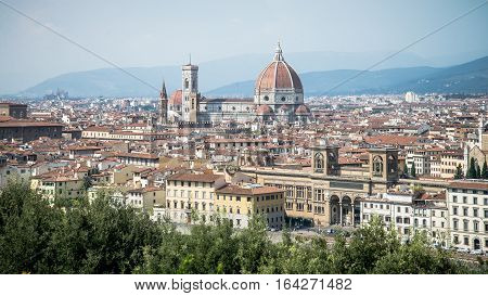 Florence, Italy - September 7, 2014: Skyline of Florence city with Duomo from Piazzale Michelangelo