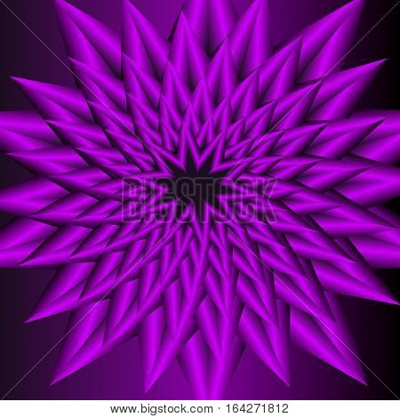 Purple circle star shape with optical art effect flourish object on dark purple background vector decoration. Abstract vector jagged flower pattern in fractal style with 3d effect.
