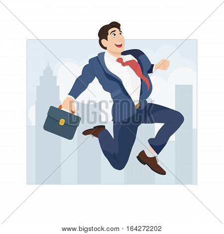 Successful businessman jumping on the background of the city. Idea and Growth concept.