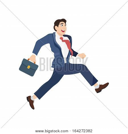 Happy businessman in a suit with a suitcase and runs forward. Isolated on white background