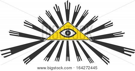 All seeing eye symbol (piramid) vector illustration