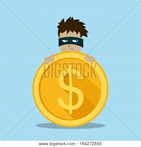 Bad thief wear black suite and mask holding a bag of money in his hands. Flat Character design vector illustration