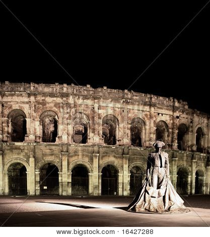 Statue of famous bullfighter in front of the arena in Nimes, France. (panoramic photo made of multiple shots -> huge resolution, very suitable for large prints!)