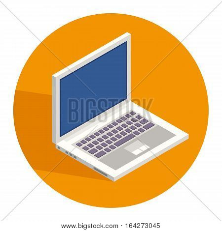 Notebook in flat isometric style vector icon, computer sign in circle on orange background with long shadow, white open notebook isometric icon