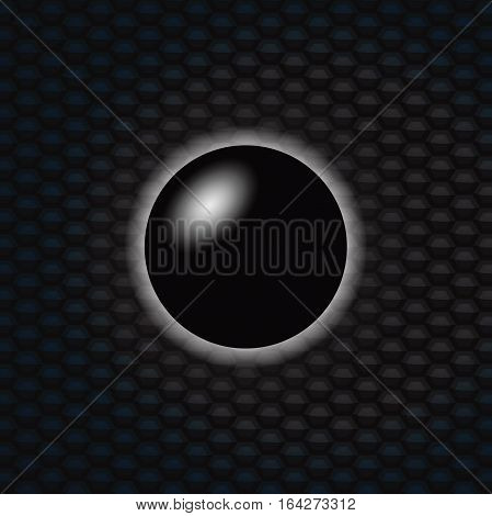 3D Illustration of a Black Sphere Over Blue and Black Honeycomb Background
