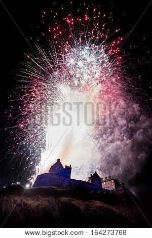 Edinburgh Hogmanay. New Year's Eve Celebration Fireworks At Edinburgh Castle, Scotland