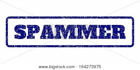 Navy Blue rubber seal stamp with Spammer text. Vector tag inside rounded rectangular shape. Grunge design and dirty texture for watermark labels. Horisontal sticker on a white background.