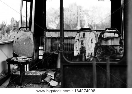 Civilian bus completely burned in the war
